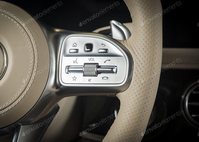 media control buttons, modern car interior details