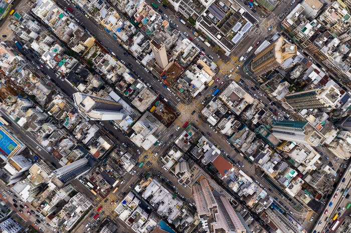 Kowloon city, Hong Kong 24 September 2018:- Top view of the building block