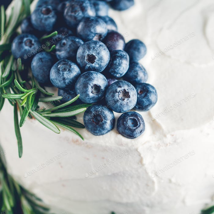 Close-up of fresh blueberries and rosemary like a decor on a cream cake.
