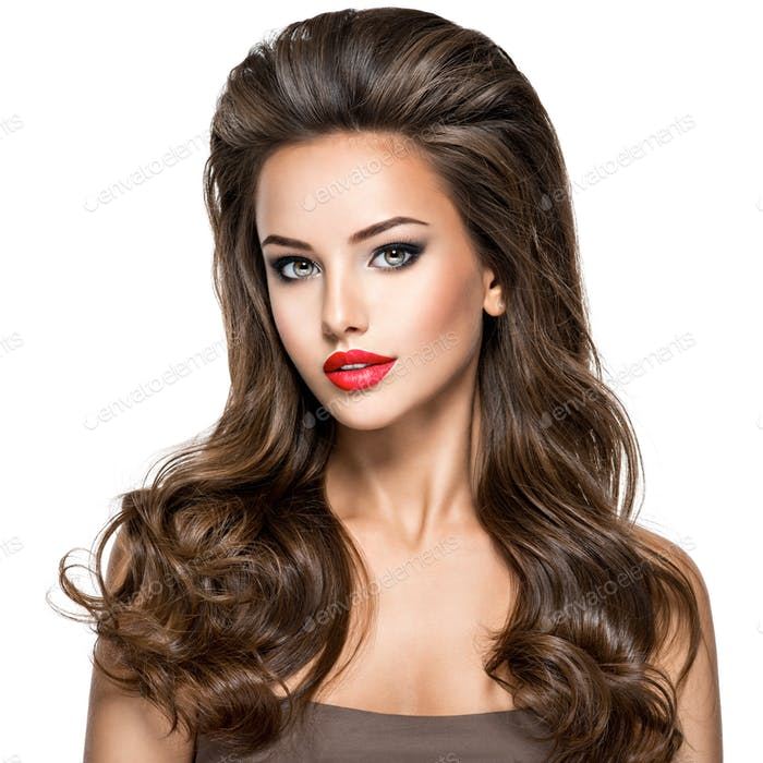 Beautiful sexy woman with long brown hair.