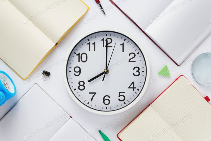 school accessories and wall clock