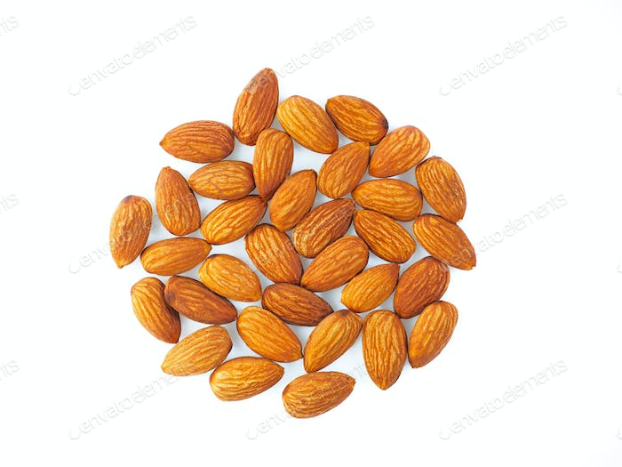 peanuts almond peeled, isolated on white background