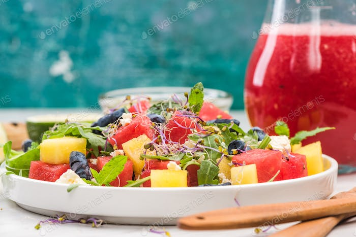 Healthy Watermelon Salad with Feta, Served with Watermelon Smoot