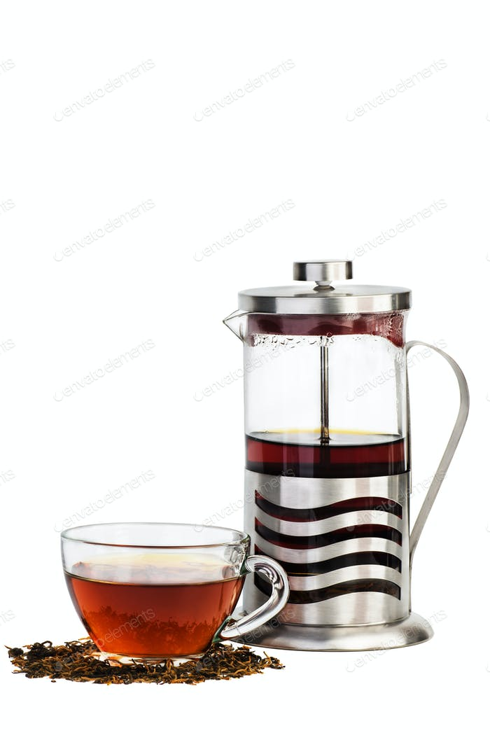 Cup of black tea and french press