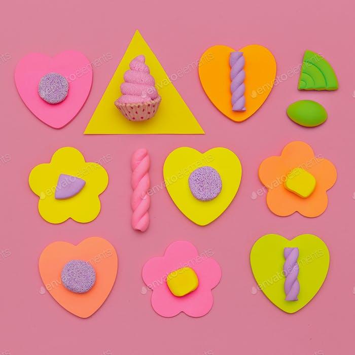 Candy Set. Sweet vibes. Minimal Flatlay art