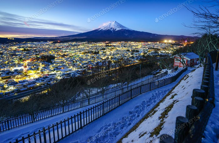 Mt Fuji and Fujiyoshida city at twilight, Japan