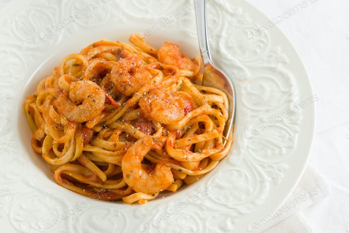 Spicy Prawn Chili and Tomato Linguine
