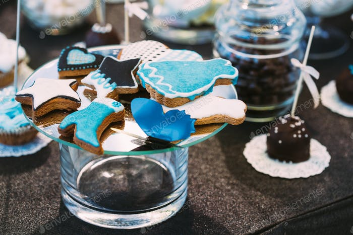 Dessert Sweet Cookies in different shape in Candy Bar On Table