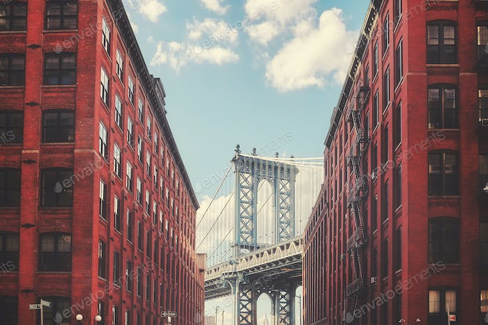 Manhattan Bridge seen from Dumbo, New York City, USA.