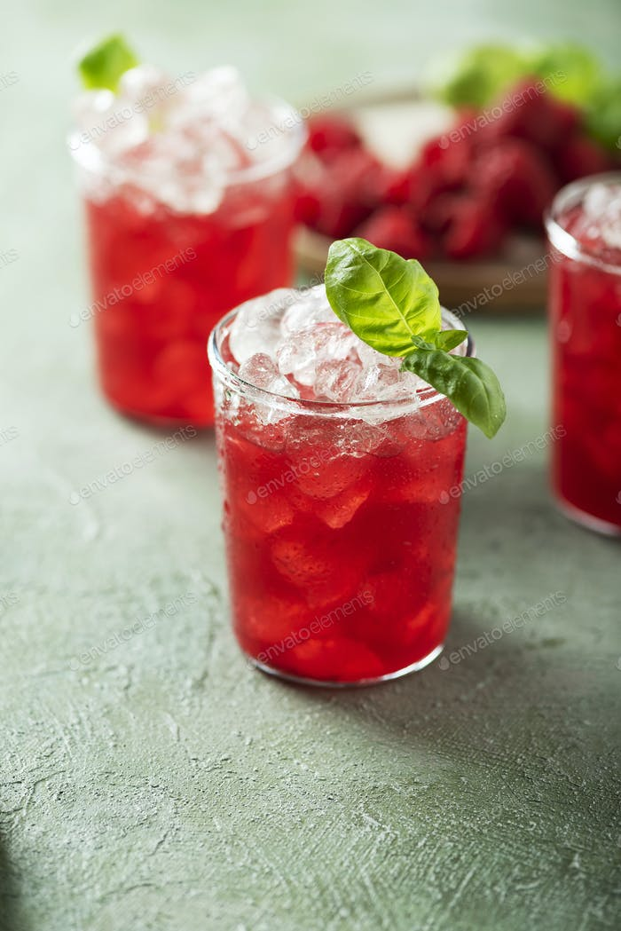 Fresh raspberry cocktail with basil