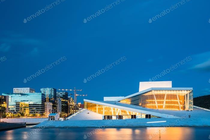 Oslo Norway. Evening View Of Illuminated Opera Ballet House Amon