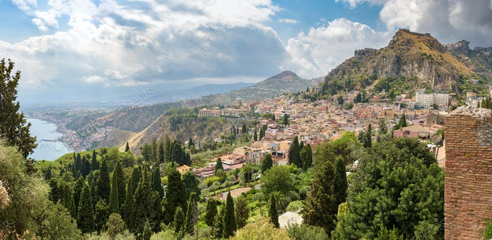 Panoramic view of Taormina on Sicily